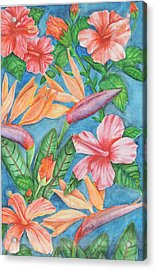 Flowers In Paradise Acrylic Print by Katiana Valdes