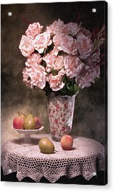 Flowers With Fruit Still Life Acrylic Print by Tom Mc Nemar