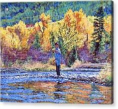 Fly Fishing Acrylic Print by David Lloyd Glover