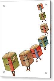Flying Books02 Acrylic Print by Kestutis Kasparavicius