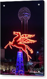 Flying Pegasus And Reunion Tower Night Acrylic Print by Tod and Cynthia Grubbs