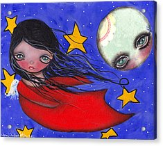 Flying With The Moon Acrylic Print by  Abril Andrade Griffith