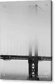 Fog At The Golden Gate Bridge 4 - Black And White Acrylic Print by Wingsdomain Art and Photography