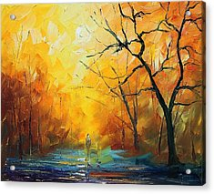 Fog - Palette Knife Oil Painting On Canvas By Leonid Afremov Acrylic Print by Leonid Afremov