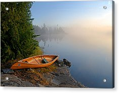 Foggy Morning On Spice Lake Acrylic Print by Larry Ricker