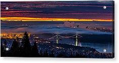 Foggy Vancouver Sunrise Acrylic Print by Pierre Leclerc Photography