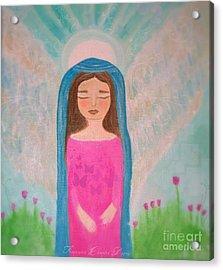 Folk Angel The Gaurdian Acrylic Print by Sacred  Muse