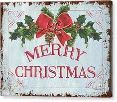 Folk Merry Christmas Acrylic Print by Debbie DeWitt