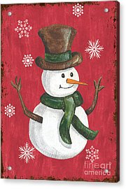 Folk Snowman Acrylic Print by Debbie DeWitt