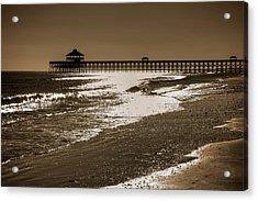 Folly Pier Sunset Acrylic Print by Drew Castelhano