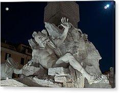 Fontana Dei Quattro Fiumi Iv Acrylic Print by Fabrizio Ruggeri