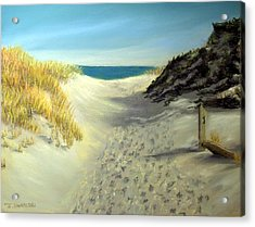 Footprints In The Sand Acrylic Print by Joan Swanson