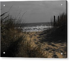 Footprints In Winter Sand Acrylic Print by Kathryn Blackman