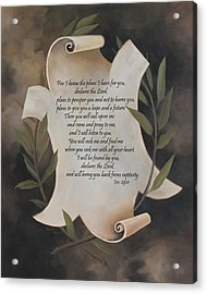 For I Know The Plans I Have For You Acrylic Print by Becky West