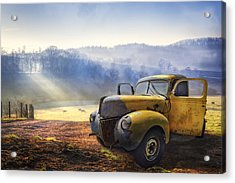 Ford In The Fog Acrylic Print by Debra and Dave Vanderlaan