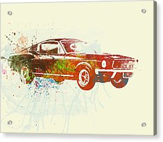 Ford Mustang Watercolor Acrylic Print by Naxart Studio