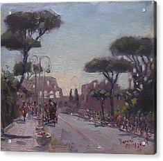 Fori Romani - Street To Colosseo Acrylic Print by Ylli Haruni
