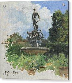 Fountain In The Boboli Gardens Florence Acrylic Print by Anna Rose Bain