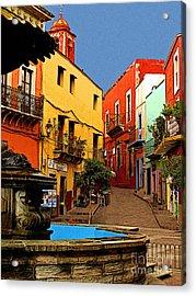 Fountain Plaza Acrylic Print by Mexicolors Art Photography