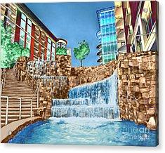 Fountains Acrylic Print by Rachelle Petersen