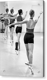 Four Female Dancers During A Ballet Rehearsal Acrylic Print by Julia Hiebaum