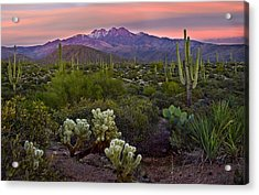 Four Peaks Sunset Acrylic Print by Dave Dilli