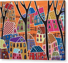 Four Trees And Houses On Orange Acrylic Print by Karla Gerard