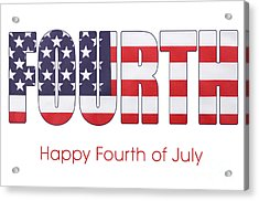 Fourth Of July Flag Letters Outline Acrylic Print by Milleflore Images