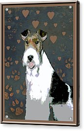 Fox Terrier Wire Acrylic Print by One Rude Dawg Orcutt