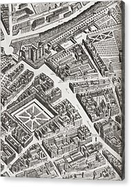 Fragment Of The Turgot Map Of Paris Acrylic Print by Vintage Design Pics