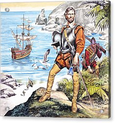 Francis Drake And The Golden Hind Acrylic Print by Ron Embleton