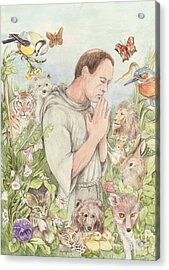 Francis Of Assisi With The Animals Acrylic Print by Morgan Fitzsimons