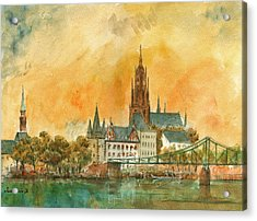 Frankfurt Watercolor Acrylic Print by Juan  Bosco
