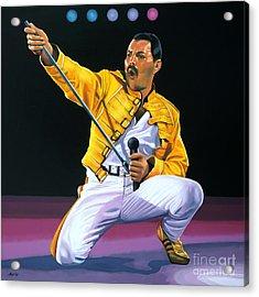 Freddie Mercury Live Acrylic Print by Paul Meijering