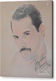 Freddie Mercury Signed  Acrylic Print by John Sterling