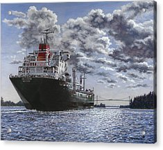 Freighter Inviken Acrylic Print by Richard De Wolfe