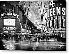 Fremont Street Casinos Bw Acrylic Print by Az Jackson