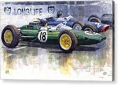 French Gp 1963 Start Lotus Vs Brm Acrylic Print by Yuriy  Shevchuk