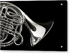 French Horn Isolated On Back Acrylic Print by M K  Miller