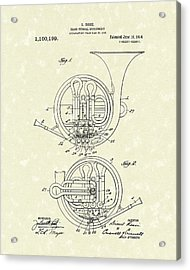 French Horn Musical Instrument 1914 Patent Acrylic Print by Prior Art Design