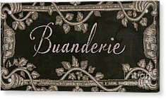 French Vintage Laundry Sign Acrylic Print by Mindy Sommers