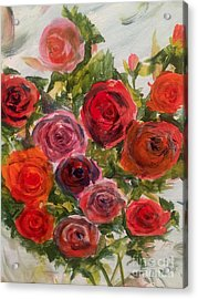 Fresh Cut Roses Acrylic Print by Trilby Cole