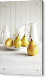 Fresh Pears On Old Table Acrylic Print by Sandra Cunningham