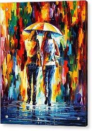 Friends Under The Rain Acrylic Print by Leonid Afremov