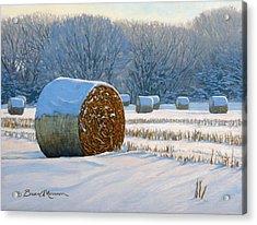 Frigid Morning Bales Acrylic Print by Bruce Morrison