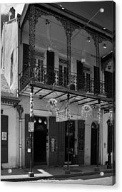 Fritzel's European Jazz Pub In Black And White Acrylic Print by Chrystal Mimbs