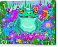Frog And Spring Flowers Acrylic Print by Nick Gustafson