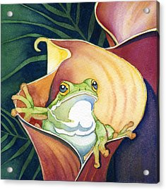 Frog In Gold Calla Lily Acrylic Print by Lyse Anthony