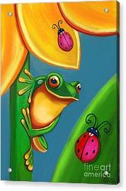 Frog Ladybugs And Flower Acrylic Print by Nick Gustafson