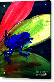 Frog On Leaf Acrylic Print by Mike Grubb